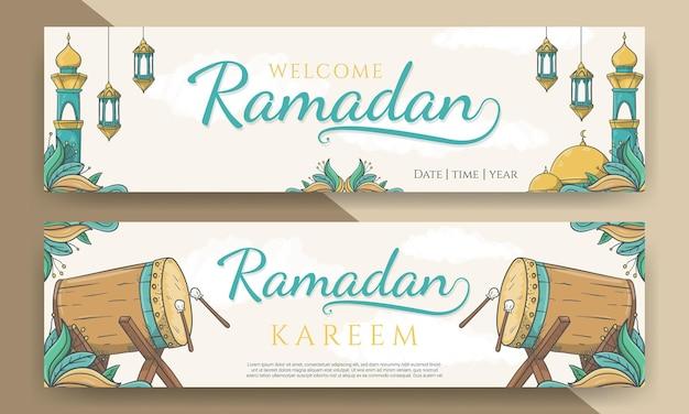 En-tête horizontal ramadan kareem avec ornement islamique dessiné à la main