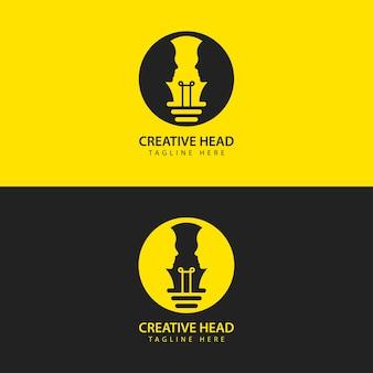 Tête humaine ampoule logo vector icône idée intelligente face à face