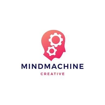 Tête humaine engrenage esprit cerveau logo vector icon illustration