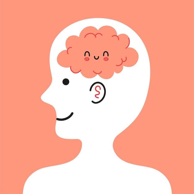 Tête humaine mignonne de profil avec cerveau heureux à l'intérieur