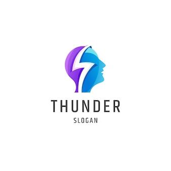 Tête humaine tonnerre dégradé coloré logo icône modèle de conception illustration vectorielle