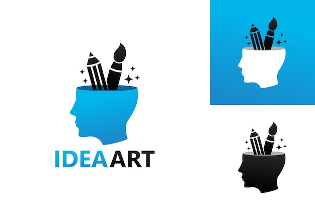 Tête d'idée art, pinceau et crayon modèle de logo vecteur premium