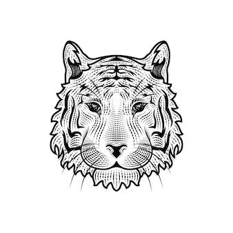 La tête de l'illustration du tigre