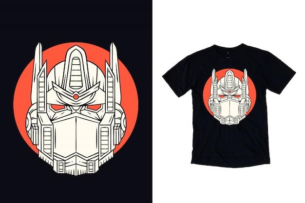 Tête d'illustration de robot pour t-shirt