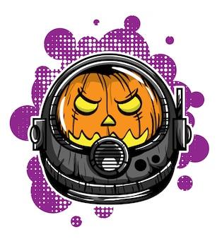 Tête d'illustration vectorielle de citrouille astronaute
