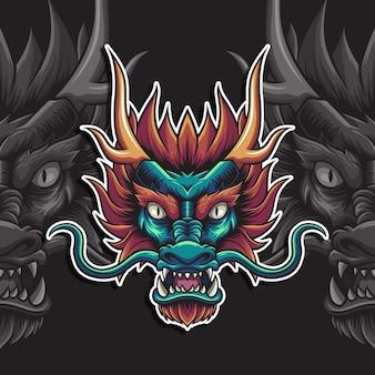 Tête d'illustration vectorielle de dragon vert