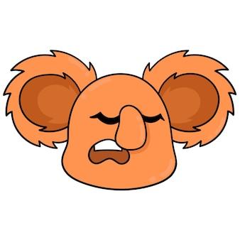 La tête de koala orange dort en hibernation, émoticône de carton d'illustration vectorielle. dessin d'icône de griffonnage