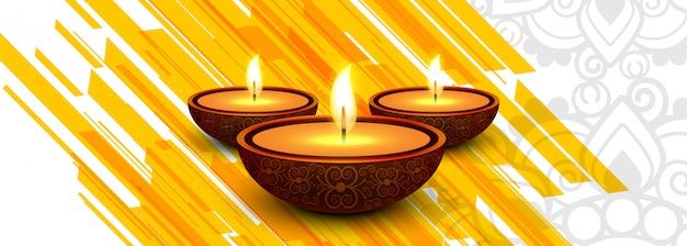 En-tête de la lampe à huile fête du diwali ou bannière