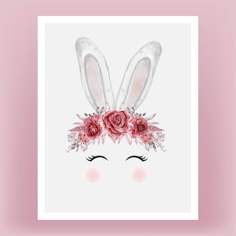 Tête de lapin aquarelle fleur rouge marron illustration dessinée à la main