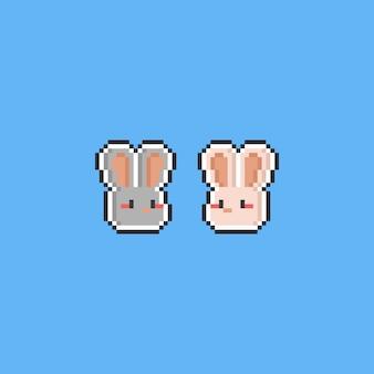 Tête de lapin de dessin animé pixel