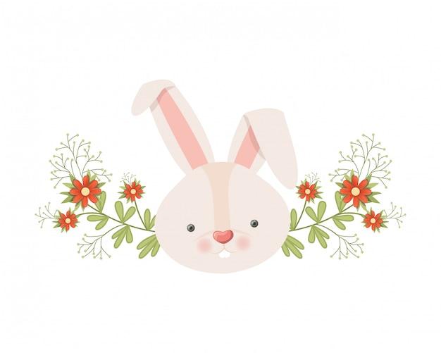 Tête de lapin avec icône isolé de fleurs