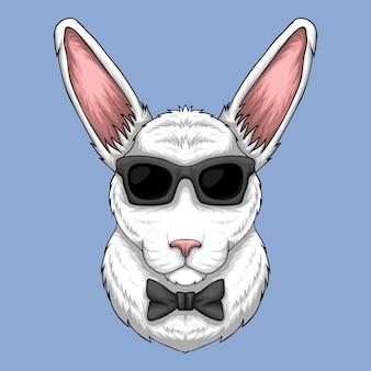Tête de lapin avec des lunettes de soleil et illustration de dessin animé de noeud papillon sur fond bleu clair