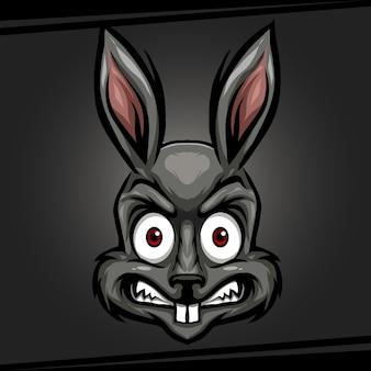 Tête de lapin mascotte animale en colère pour les sports et esports logo vector illustration