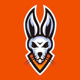 Tête de lapin mascotte logo sport vecteur