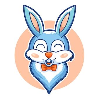 Tête de lapin mignon personnage mascotte adorable