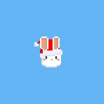 Tête de lapin pixel avec chapeau de noël