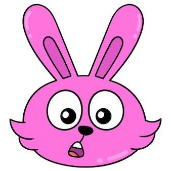 Tête de lapin rose bouche bée de surprise, émoticône de carton d'illustration vectorielle. dessin d'icône de griffonnage