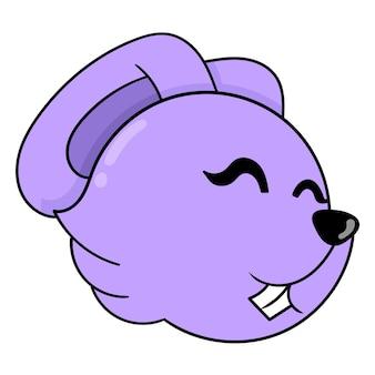 Tête de lapin violet souriant joyeusement, émoticône de carton d'illustration vectorielle. dessin d'icône de griffonnage