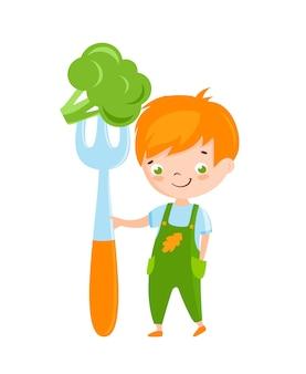 Tête de lecture mignon petit garçon tenant une grande fourchette avec un logo sain de brocoli
