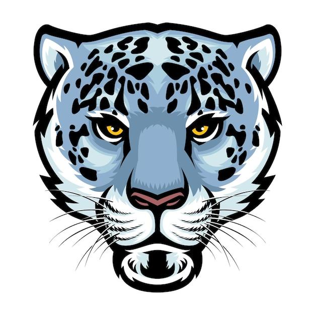 Tête de léopard des neiges isolé sur blanc