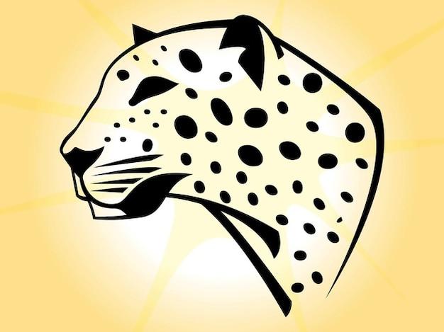Tête d'un léopard avec des points noirs