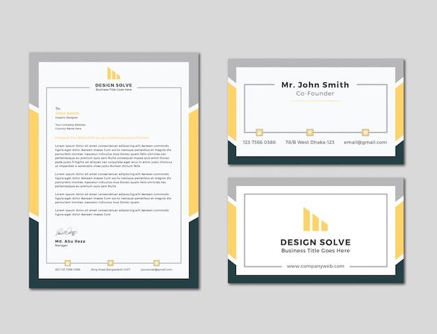 En-tête de lettre d'affaires unique avec conception de cartes de visite