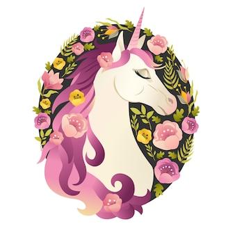 Tête de licorne en guirlande de fleurs illustration aquarelle.