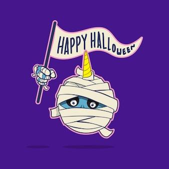 Tête de licorne momie dessin animé mignon halloween