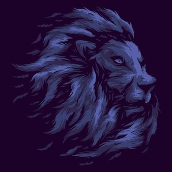Tête de lion bleu isolé sur violet