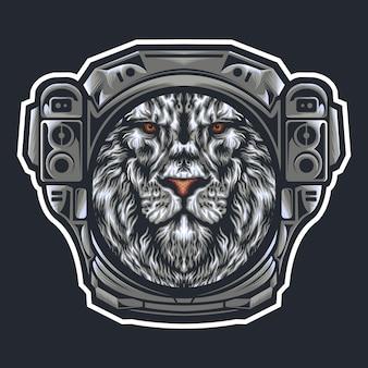 Tête de lion avec casque d'astronaute