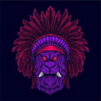 Tête de lion avec chapeau de culture indienne