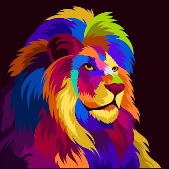 Tête de lion colorée d'illustration avec un style pop art