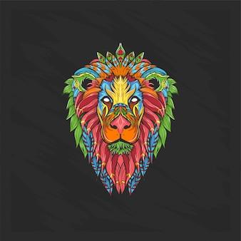 Tête de lion avec couleur florale et unique