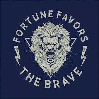 Tête de lion courageux