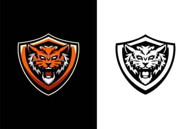 Tête de lion avec création de logo de mascotte de bouclier
