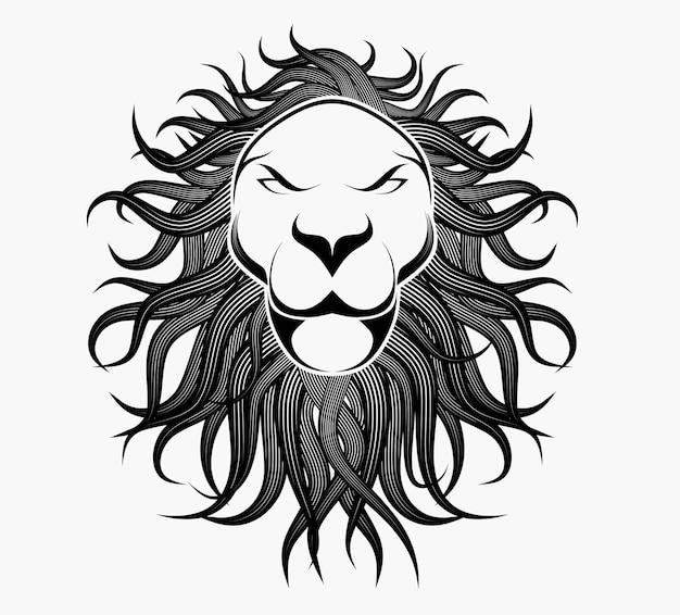 Tête de lion dans un style détaillé