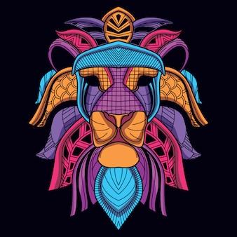 Tête de lion décorative abstraite de couleur néon lueur