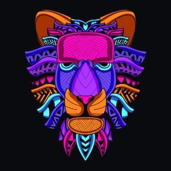 Tête de lion décorative de couleur néon
