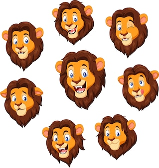 Tête de lion de dessin animé avec une expression différente