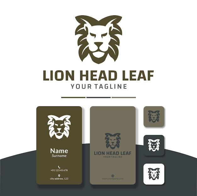 Tête de lion feuille logo design cheveux nature