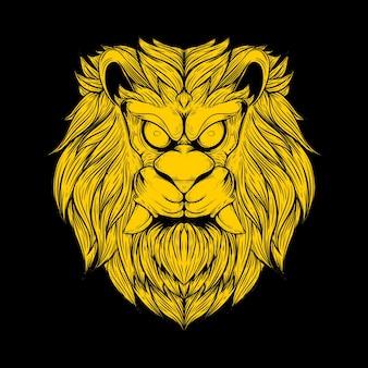 Tête de lion avec grand croc