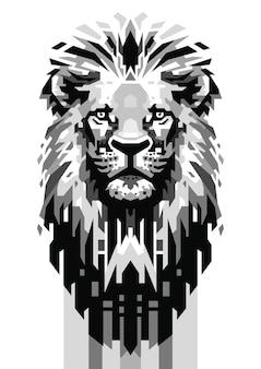 Tête de lion gris échelle vecteur
