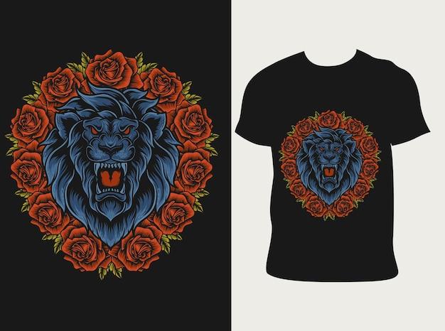 Tête de lion illustration avec fleur rose sur la conception de t-shirt