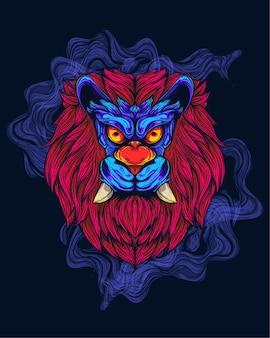 Tête de lion avec des illustrations de crocs