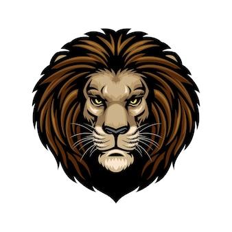 Tête de lion isolé sur blanc