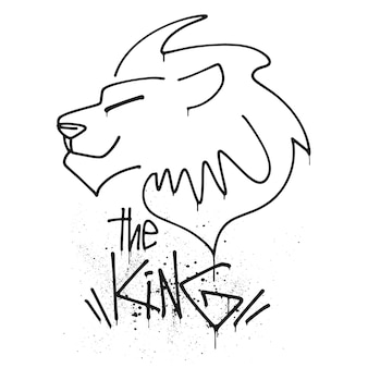 Tête de lion avec le lettrage de l'illustration vectorielle du roi.
