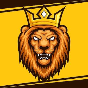 Tête de lion mascotte esport logo vector illustration