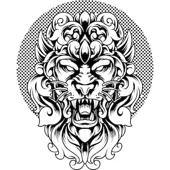 Tête de lion, à, ornement, silhouette