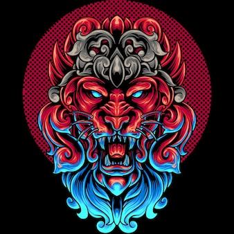 Tête de lion avec ornement