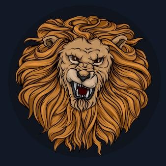 La tête d'un lion rugissant avec une crinière